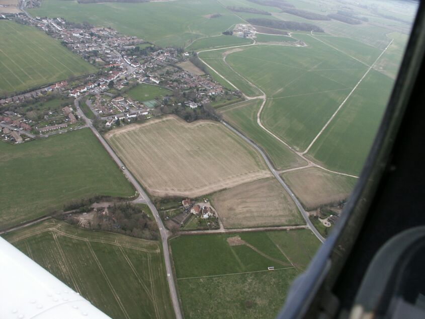 Photograph of Hunsdon village center taken from an aeroplane
