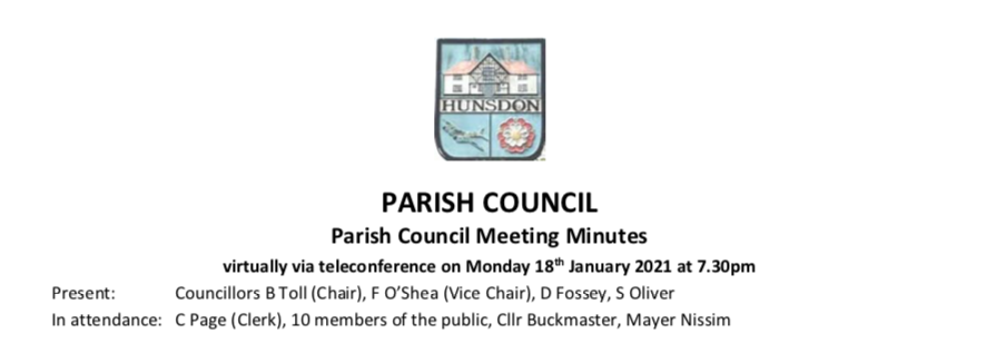 Hunsdon January Meeting Minutes
