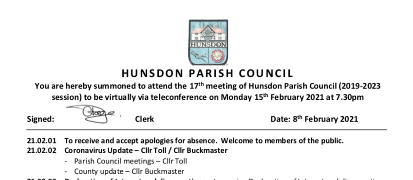 Hunsdon Parish Council Agenda
