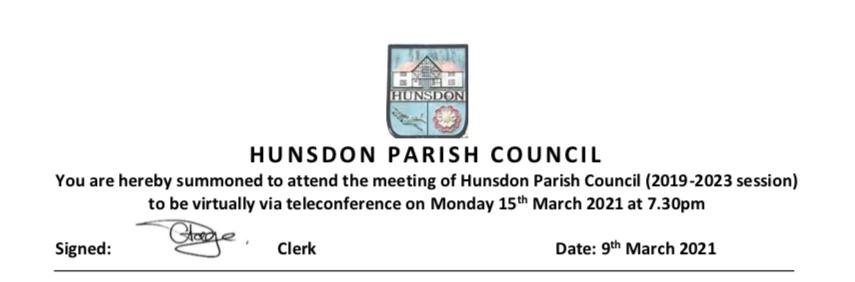 Hunsdon March 2021 Agenda