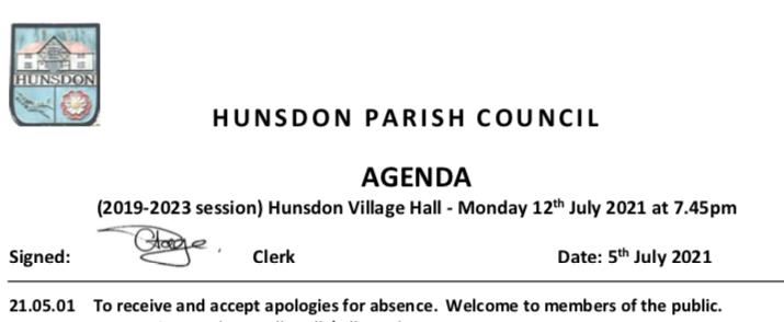 Hunsdon Parish Council Meeting - July 2021