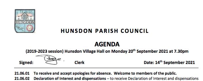 Hunsdon Parish Council - Meeting Agenda - September 2021