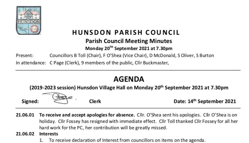 Hunsdon Parish Council - September 2021 Minutes