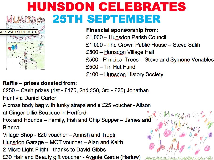 Hunsdon Celebrates - Sponsors and Raffle Donors