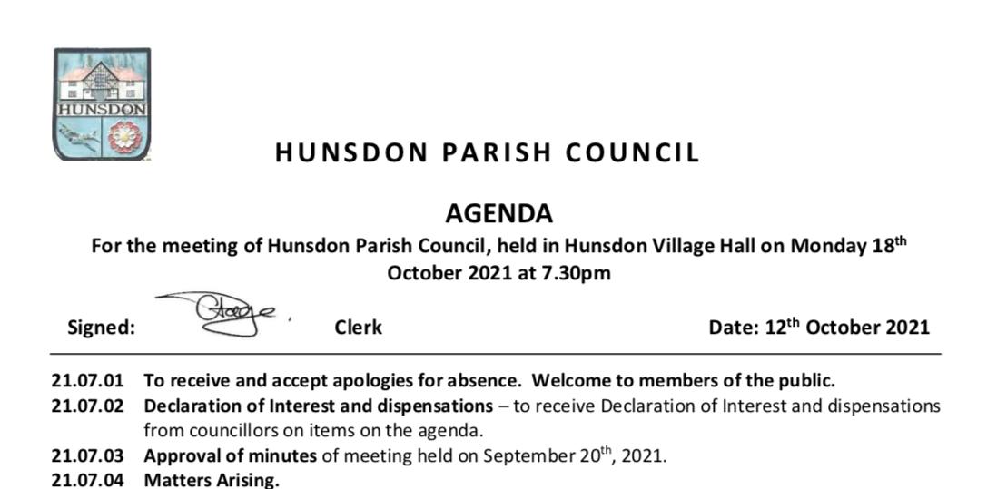 Hunsdon Parish Council Agenda October 2021